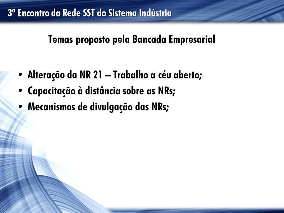 Temas proposto pela Bancada Empresarial Alteração da NR 21 – Trabalho a céu aberto; Capacitação à distância sobre as NRs; Mecanismos de divulgação das