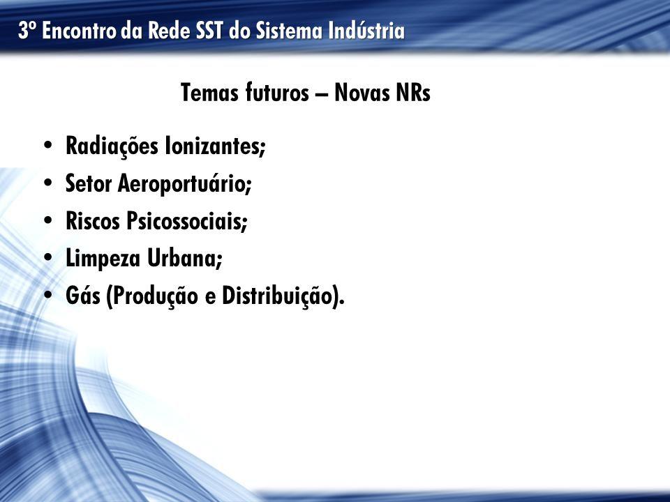 Temas futuros – Novas NRs Radiações Ionizantes; Setor Aeroportuário; Riscos Psicossociais; Limpeza Urbana; Gás (Produção e Distribuição). 3º Encontro