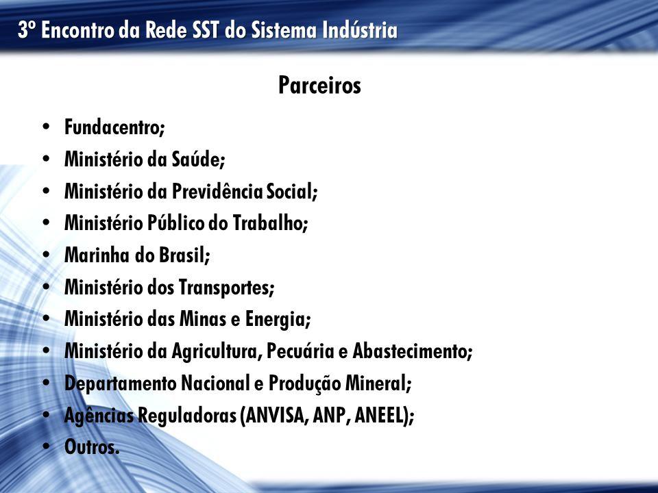 Parceiros Fundacentro; Ministério da Saúde; Ministério da Previdência Social; Ministério Público do Trabalho; Marinha do Brasil; Ministério dos Transp