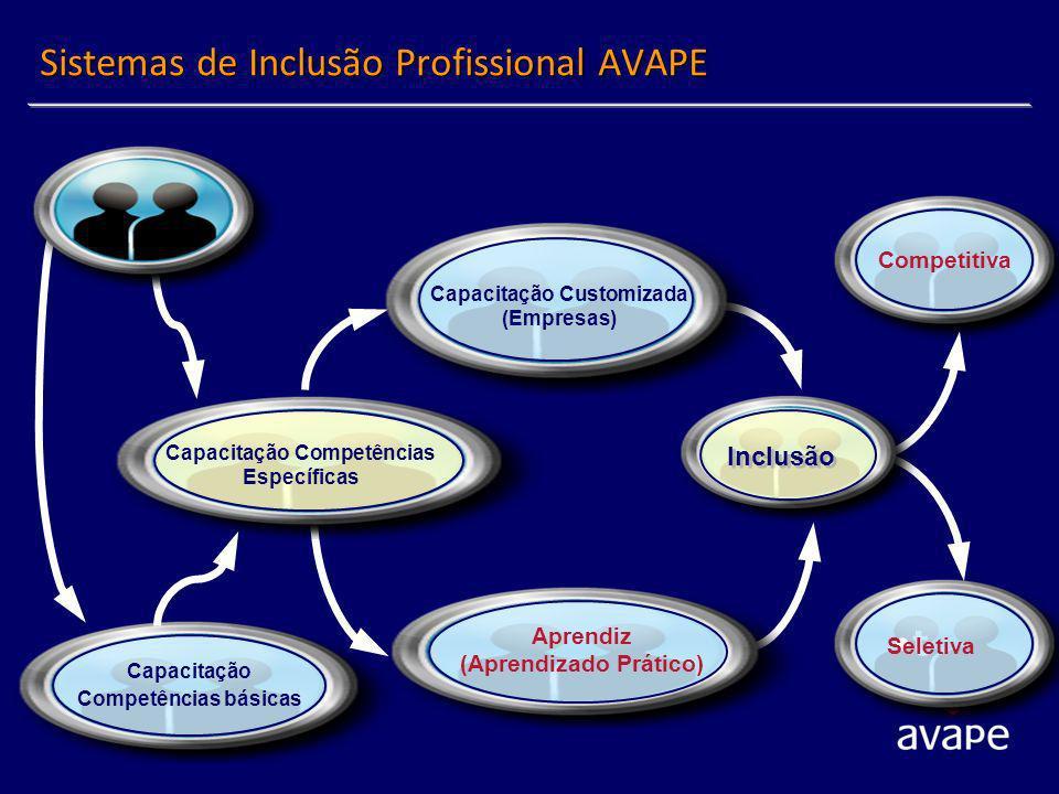 Sistemas de Inclusão Profissional AVAPE Capacitação Competências básicas Competitiva t Seletiva Inclusão Capacitação Customizada (Empresas) Aprendiz (Aprendizado Prático) Capacitação Competências Específicas