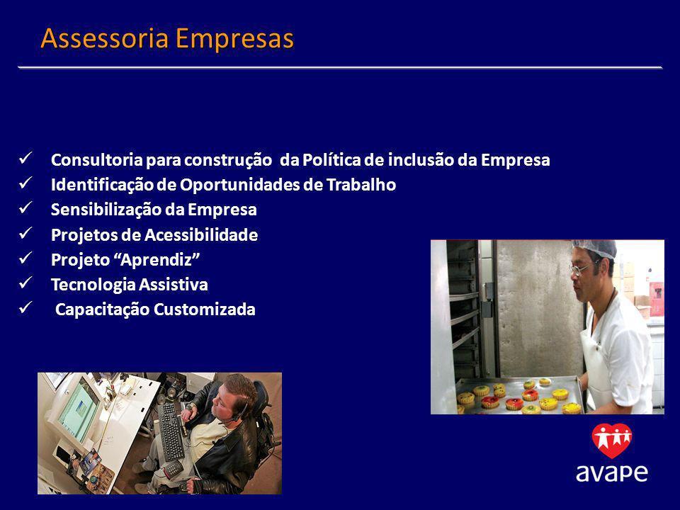 Consultoria para construção da Política de inclusão da Empresa Identificação de Oportunidades de Trabalho Sensibilização da Empresa Projetos de Acessibilidade Projeto Aprendiz Tecnologia Assistiva Capacitação Customizada Assessoria Empresas