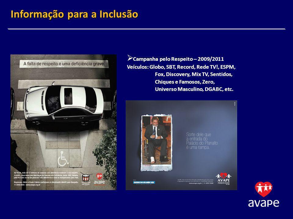 Campanha pelo Respeito – 2009/2011 Veículos: Globo, SBT, Record, Rede TV!, ESPM, Fox, Discovery, Mix TV, Sentidos, Chiques e Famosos, Zero, Universo M