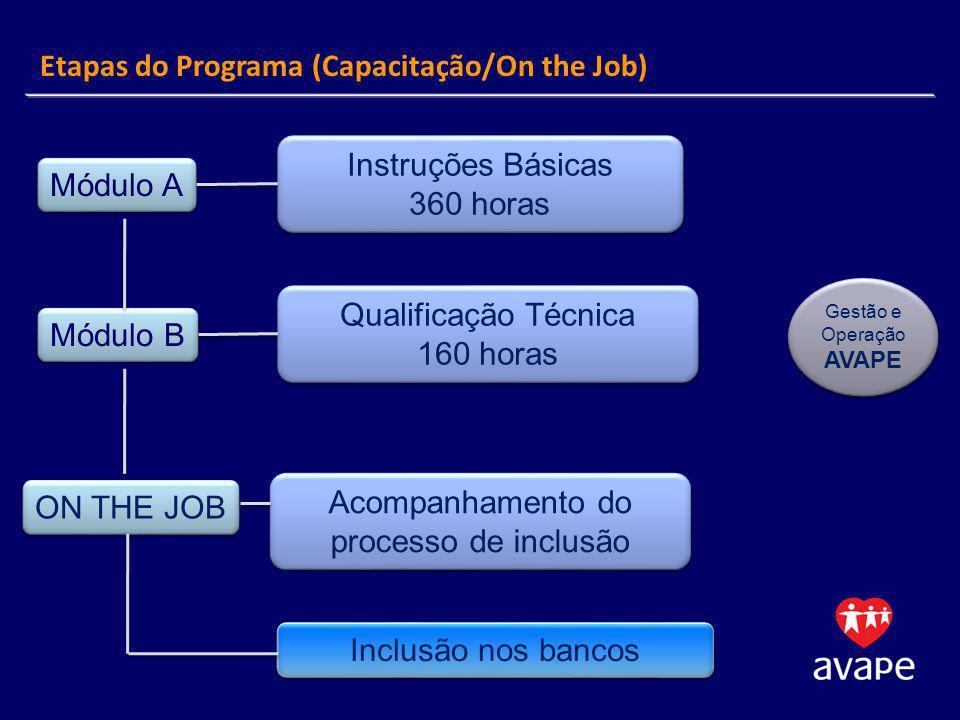 Módulo A Módulo B ON THE JOB Instruções Básicas 360 horas Instruções Básicas 360 horas Qualificação Técnica 160 horas Qualificação Técnica 160 horas Acompanhamento do processo de inclusão Inclusão nos bancos Gestão e Operação AVAPE Gestão e Operação AVAPE Etapas do Programa (Capacitação/On the Job)