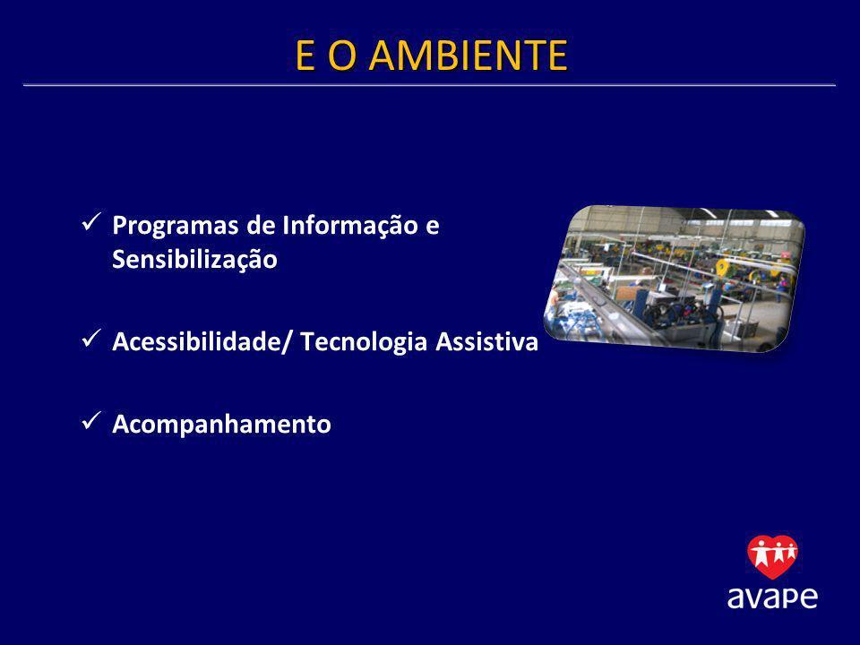E O AMBIENTE Programas de Informação e Sensibilização Acessibilidade/ Tecnologia Assistiva Acompanhamento