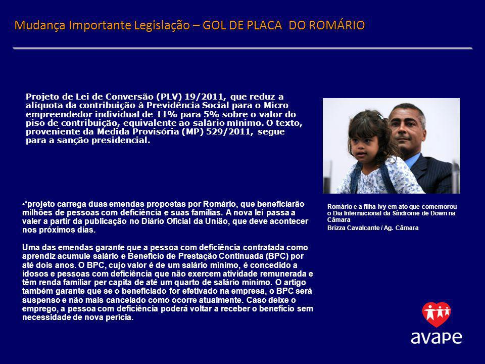 Mudança Importante Legislação – GOL DE PLACA DO ROMÁRIO projeto carrega duas emendas propostas por Romário, que beneficiarão milhões de pessoas com de
