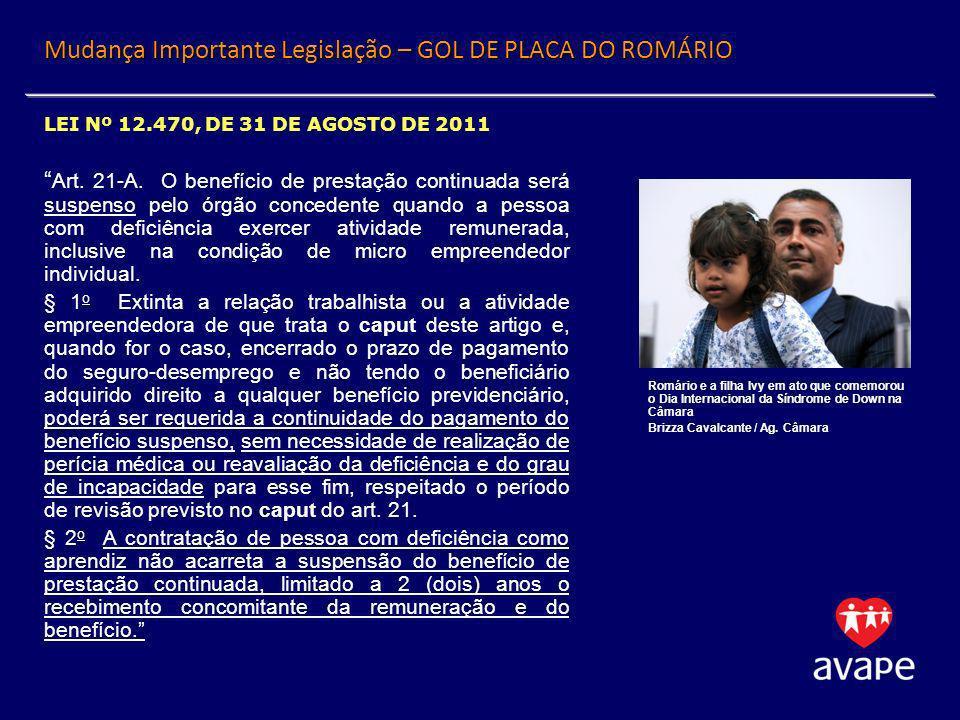 Mudança Importante Legislação – GOL DE PLACA DO ROMÁRIO LEI Nº 12.470, DE 31 DE AGOSTO DE 2011 Art. 21-A. O benefício de prestação continuada será sus