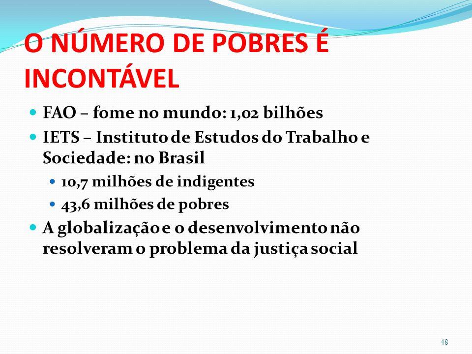 O NÚMERO DE POBRES É INCONTÁVEL FAO – fome no mundo: 1,02 bilhões IETS – Instituto de Estudos do Trabalho e Sociedade: no Brasil 10,7 milhões de indigentes 43,6 milhões de pobres A globalização e o desenvolvimento não resolveram o problema da justiça social 48