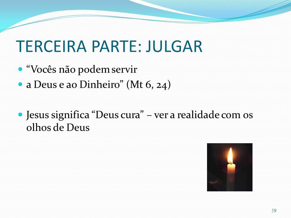 TERCEIRA PARTE: JULGAR Vocês não podem servir a Deus e ao Dinheiro (Mt 6, 24) Jesus significa Deus cura – ver a realidade com os olhos de Deus 59
