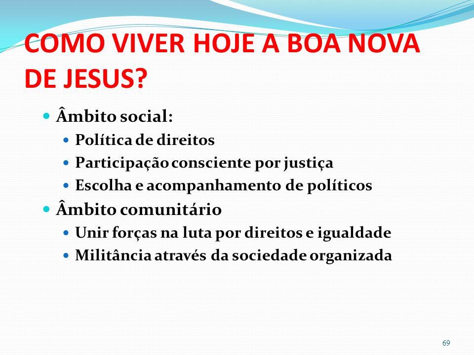 COMO VIVER HOJE A BOA NOVA DE JESUS? Âmbito social: Política de direitos Participação consciente por justiça Escolha e acompanhamento de políticos Âmb