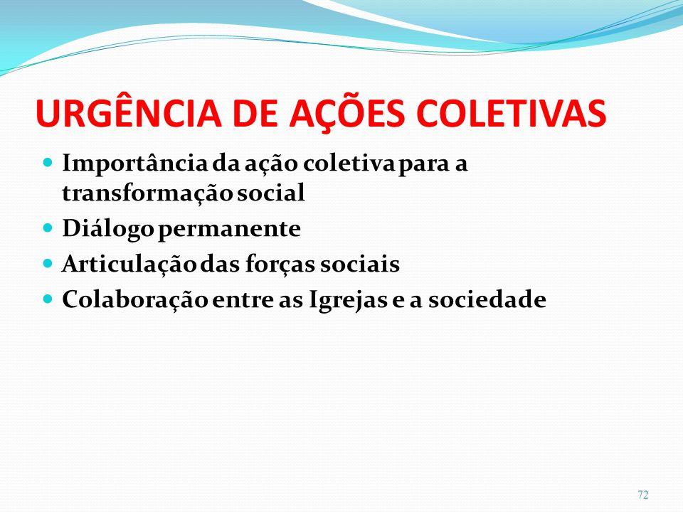 URGÊNCIA DE AÇÕES COLETIVAS Importância da ação coletiva para a transformação social Diálogo permanente Articulação das forças sociais Colaboração entre as Igrejas e a sociedade 72