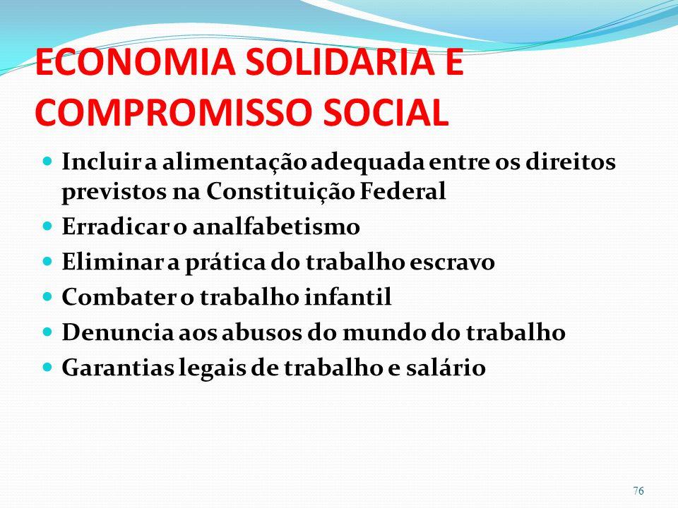 ECONOMIA SOLIDARIA E COMPROMISSO SOCIAL Incluir a alimentação adequada entre os direitos previstos na Constituição Federal Erradicar o analfabetismo E