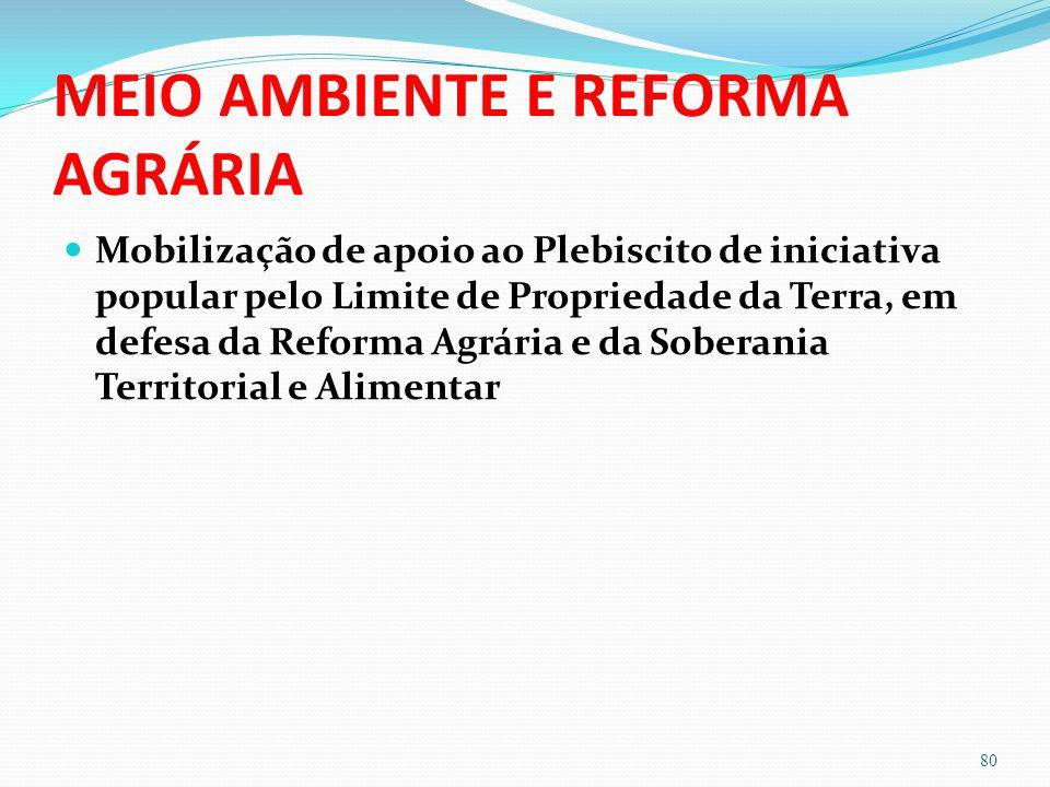 MEIO AMBIENTE E REFORMA AGRÁRIA Mobilização de apoio ao Plebiscito de iniciativa popular pelo Limite de Propriedade da Terra, em defesa da Reforma Agrária e da Soberania Territorial e Alimentar 80