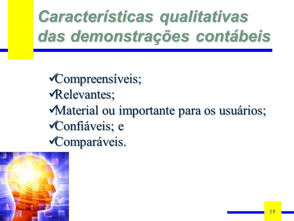 Características qualitativas das demonstrações contábeis 18 Compreensíveis; Compreensíveis; Relevantes; Relevantes; Material ou importante para os usuários; Material ou importante para os usuários; Confiáveis; e Confiáveis; e Comparáveis.