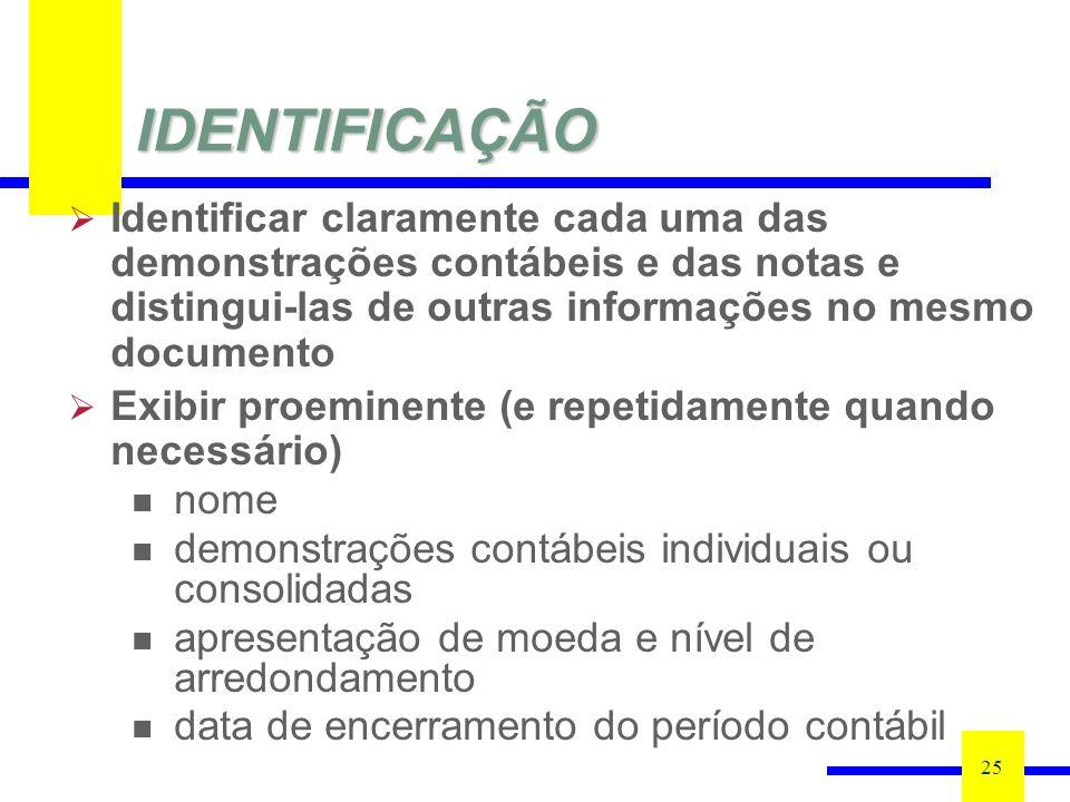 IDENTIFICAÇÃO 25 Identificar claramente cada uma das demonstrações contábeis e das notas e distingui-las de outras informações no mesmo documento Exib