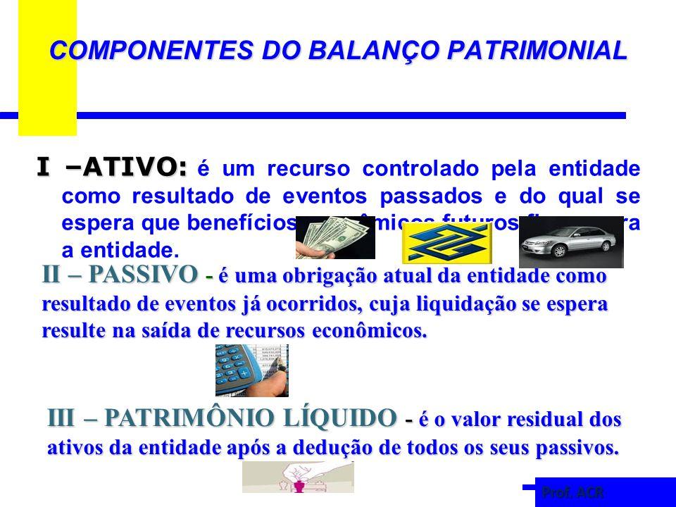 COMPONENTES DO BALANÇO PATRIMONIAL I –ATIVO: I –ATIVO: é um recurso controlado pela entidade como resultado de eventos passados e do qual se espera que benefícios econômicos futuros fluam para a entidade.