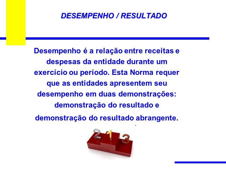 DESEMPENHO / RESULTADO Desempenho é a relação entre receitas e despesas da entidade durante um exercício ou período.