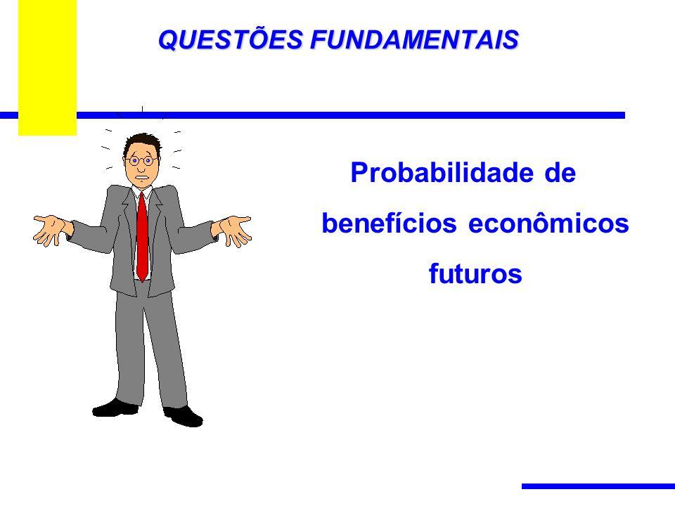 QUESTÕES FUNDAMENTAIS Probabilidade de benefícios econômicos futuros