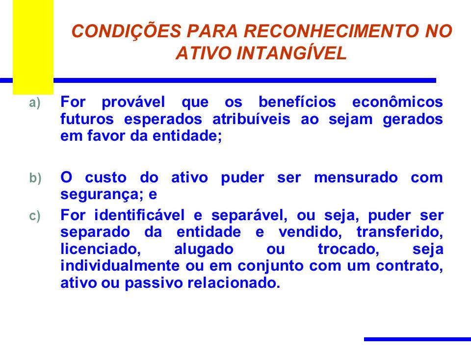 CONDIÇÕES PARA RECONHECIMENTO NO ATIVO INTANGÍVEL a) For provável que os benefícios econômicos futuros esperados atribuíveis ao sejam gerados em favor