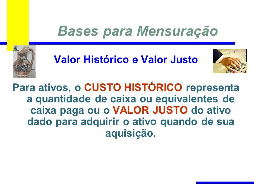 Bases para Mensuração Valor Histórico e Valor Justo Para ativos, o CUSTO HISTÓRICO representa a quantidade de caixa ou equivalentes de caixa paga ou o VALOR JUSTO do ativo dado para adquirir o ativo quando de sua aquisição.