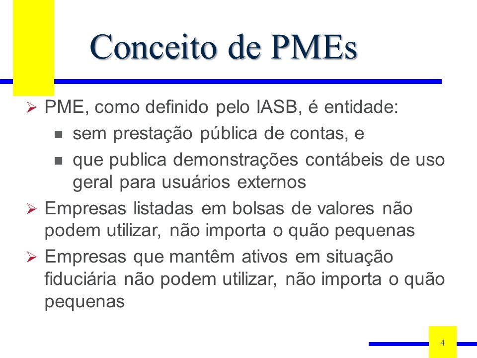 4 Conceito de PMEs PME, como definido pelo IASB, é entidade: sem prestação pública de contas, e que publica demonstrações contábeis de uso geral para