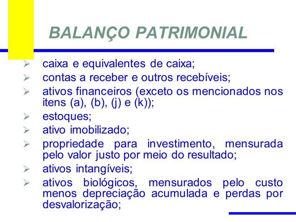 BALANÇO PATRIMONIAL caixa e equivalentes de caixa; contas a receber e outros recebíveis; ativos financeiros (exceto os mencionados nos itens (a), (b), (j) e (k)); estoques; ativo imobilizado; propriedade para investimento, mensurada pelo valor justo por meio do resultado; ativos intangíveis; ativos biológicos, mensurados pelo custo menos depreciação acumulada e perdas por desvalorização;