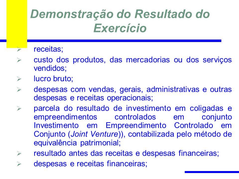 Demonstração do Resultado do Exercício receitas; custo dos produtos, das mercadorias ou dos serviços vendidos; lucro bruto; despesas com vendas, gerai