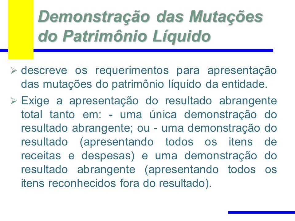 Demonstração das Mutações do Patrimônio Líquido descreve os requerimentos para apresentação das mutações do patrimônio líquido da entidade. Exige a ap