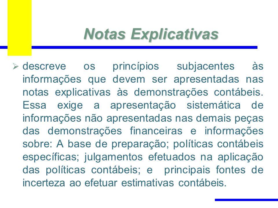 Notas Explicativas descreve os princípios subjacentes às informações que devem ser apresentadas nas notas explicativas às demonstrações contábeis. Ess