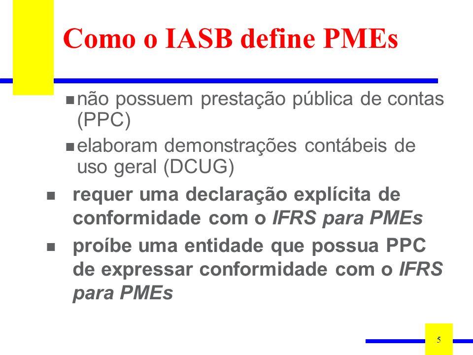 5 não possuem prestação pública de contas (PPC) elaboram demonstrações contábeis de uso geral (DCUG) requer uma declaração explícita de conformidade com o IFRS para PMEs proíbe uma entidade que possua PPC de expressar conformidade com o IFRS para PMEs Como o IASB define PMEs