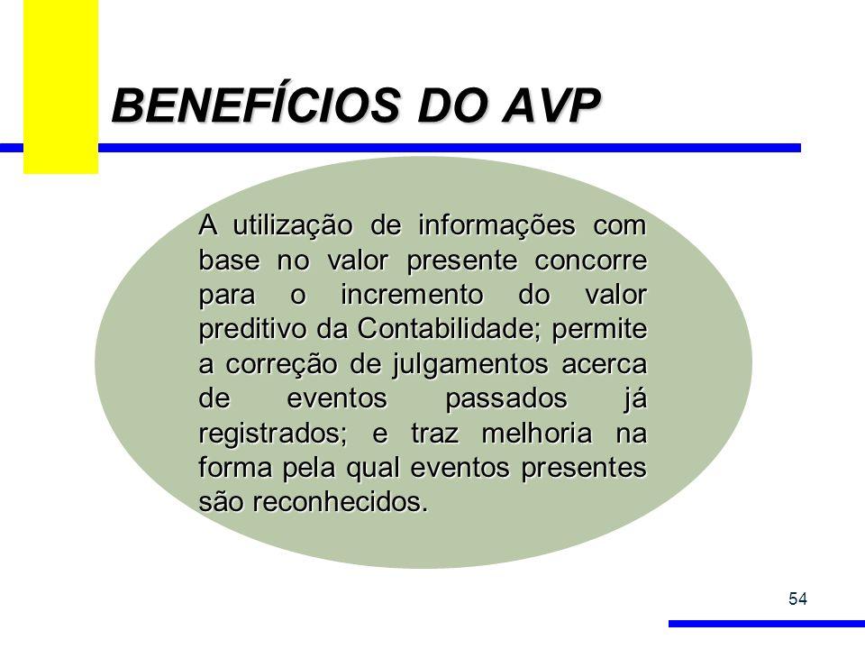 BENEFÍCIOS DO AVP 54 A utilização de informações com base no valor presente concorre para o incremento do valor preditivo da Contabilidade; permite a correção de julgamentos acerca de eventos passados já registrados; e traz melhoria na forma pela qual eventos presentes são reconhecidos.