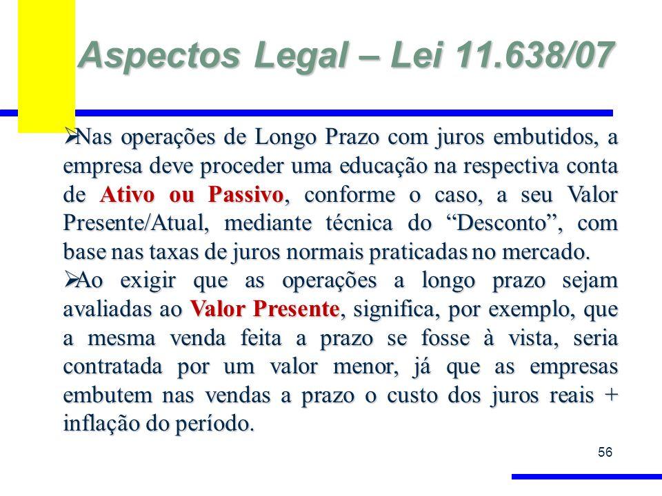 Aspectos Legal – Lei 11.638/07 56 Nas operações de Longo Prazo com juros embutidos, a empresa deve proceder uma educação na respectiva conta de Ativo