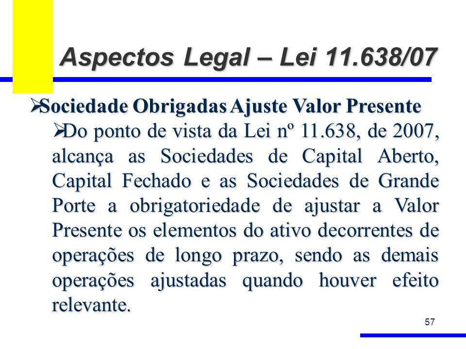 Aspectos Legal – Lei 11.638/07 57 Sociedade Obrigadas Ajuste Valor Presente Sociedade Obrigadas Ajuste Valor Presente Do ponto de vista da Lei nº 11.6