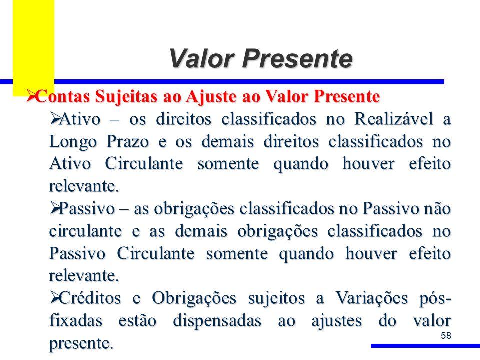 Valor Presente 58 Contas Sujeitas ao Ajuste ao Valor Presente Contas Sujeitas ao Ajuste ao Valor Presente Ativo – os direitos classificados no Realizá