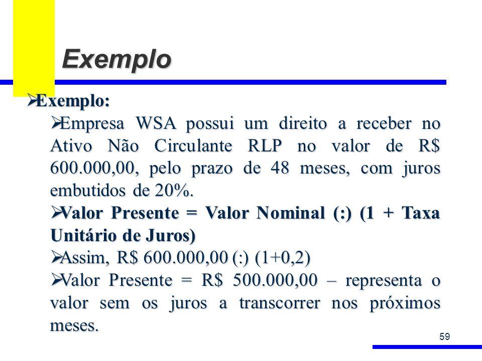 Exemplo 59 Exemplo: Exemplo: Empresa WSA possui um direito a receber no Ativo Não Circulante RLP no valor de R$ 600.000,00, pelo prazo de 48 meses, com juros embutidos de 20%.