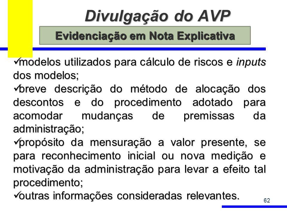Divulgação do AVP 62 modelos utilizados para cálculo de riscos e inputs dos modelos; modelos utilizados para cálculo de riscos e inputs dos modelos; b