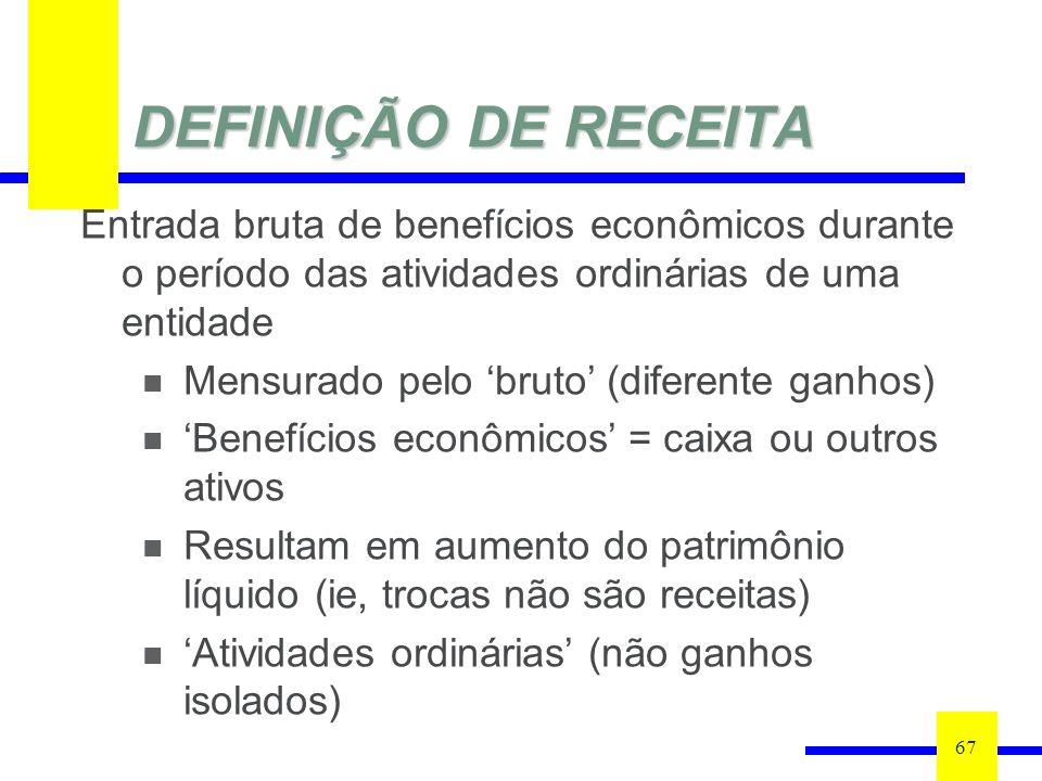 DEFINIÇÃO DE RECEITA 67 Entrada bruta de benefícios econômicos durante o período das atividades ordinárias de uma entidade Mensurado pelo bruto (difer