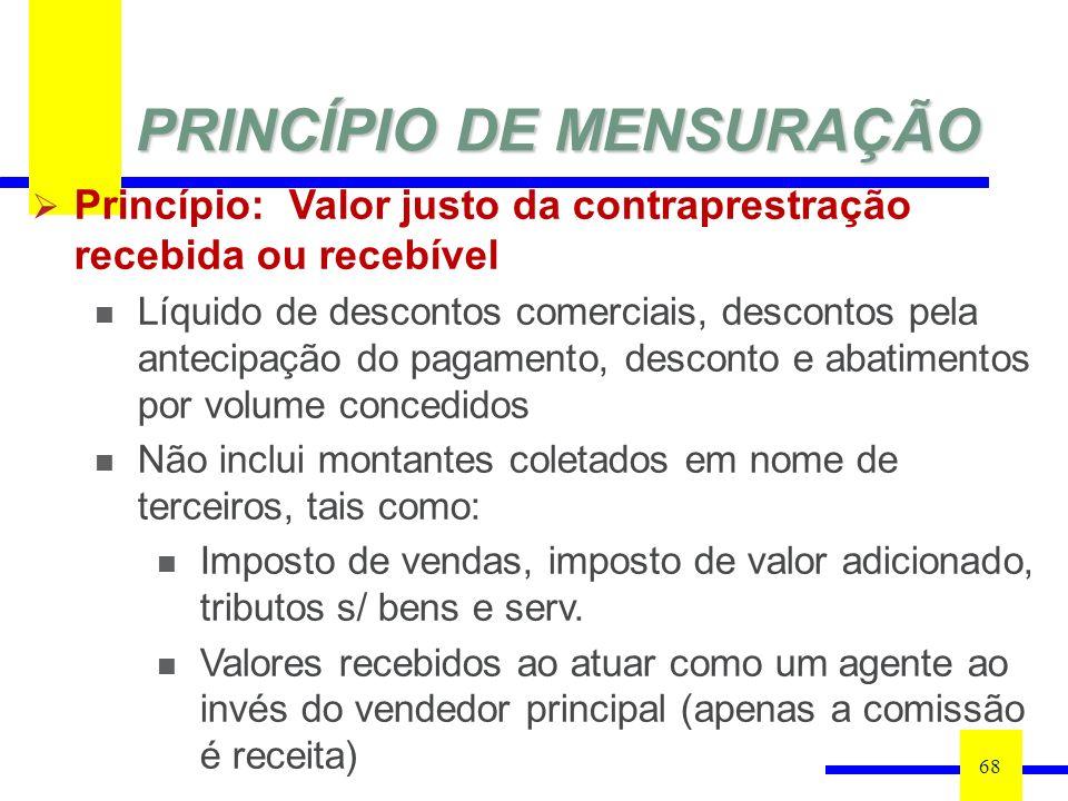 PRINCÍPIO DE MENSURAÇÃO 68 Princípio: Valor justo da contraprestração recebida ou recebível Líquido de descontos comerciais, descontos pela antecipaçã