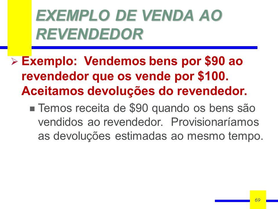 EXEMPLO DE VENDA AO REVENDEDOR 69 Exemplo: Vendemos bens por $90 ao revendedor que os vende por $100. Aceitamos devoluções do revendedor. Temos receit