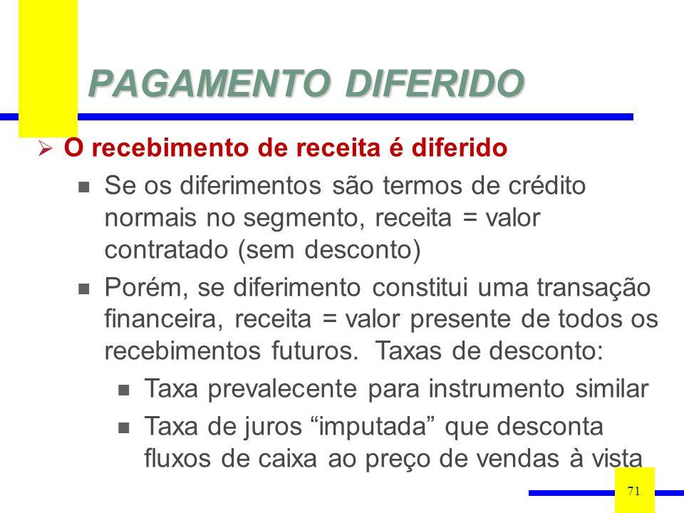PAGAMENTO DIFERIDO 71 O recebimento de receita é diferido Se os diferimentos são termos de crédito normais no segmento, receita = valor contratado (sem desconto) Porém, se diferimento constitui uma transação financeira, receita = valor presente de todos os recebimentos futuros.