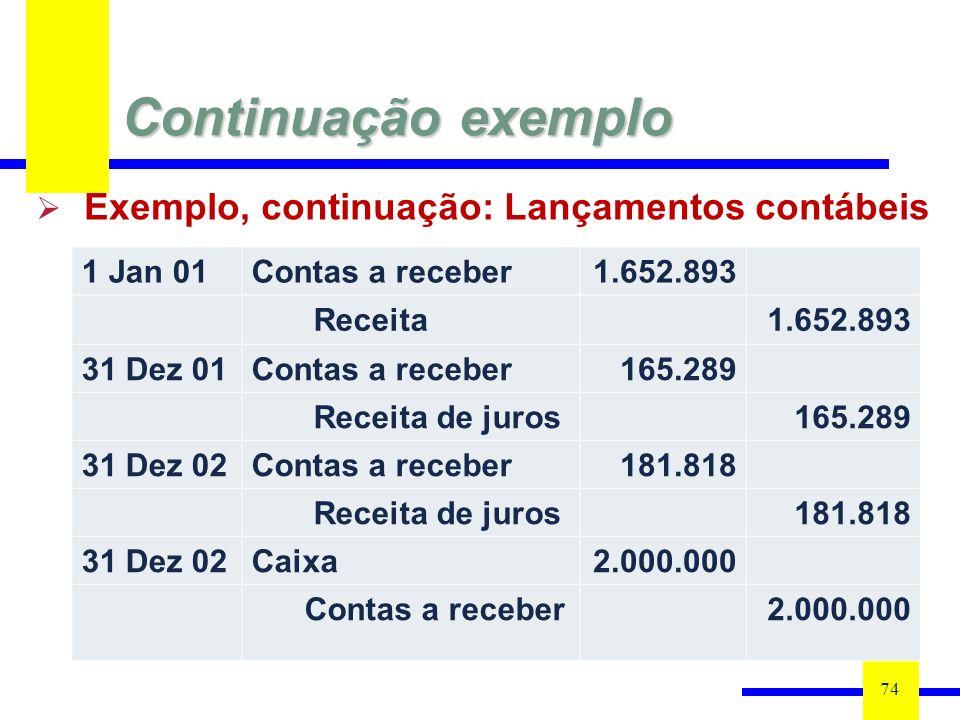 Continuação exemplo 74 1 Jan 01Contas a receber1.652.893 Receita1.652.893 31 Dez 01Contas a receber165.289 Receita de juros165.289 31 Dez 02Contas a receber181.818 Receita de juros181.818 31 Dez 02Caixa2.000.000 Contas a receber2.000.000 Exemplo, continuação: Lançamentos contábeis