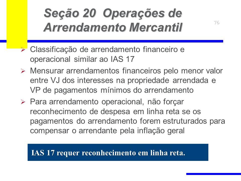 76 Seção 20 Operações de Arrendamento Mercantil Classificação de arrendamento financeiro e operacional similar ao IAS 17 Mensurar arrendamentos financ