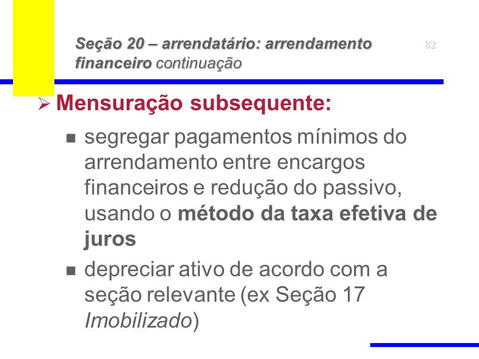 82 Seção 20 – arrendatário: arrendamento financeiro continuação Mensuração subsequente: segregar pagamentos mínimos do arrendamento entre encargos financeiros e redução do passivo, usando o método da taxa efetiva de juros depreciar ativo de acordo com a seção relevante (ex Seção 17 Imobilizado)