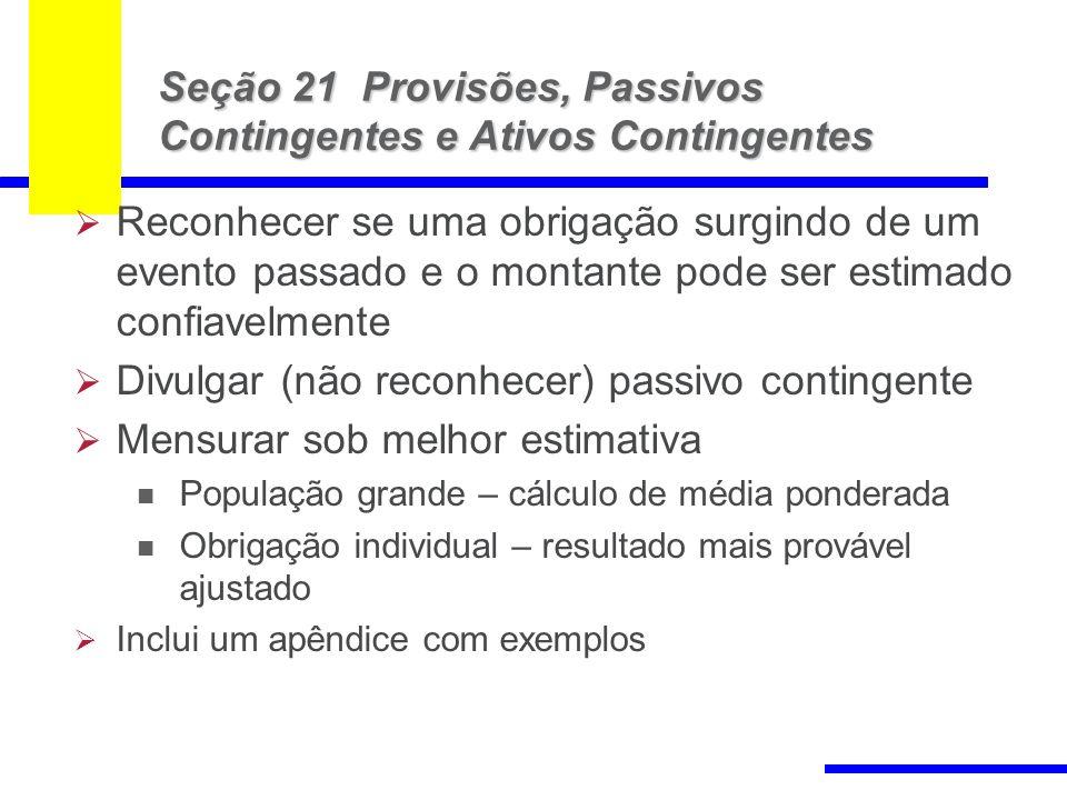86 Seção 21 Provisões, Passivos Contingentes e Ativos Contingentes Reconhecer se uma obrigação surgindo de um evento passado e o montante pode ser est