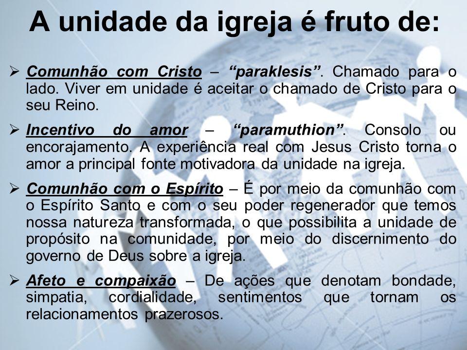 A unidade da igreja é fruto de: Comunhão com Cristo – paraklesis. Chamado para o lado. Viver em unidade é aceitar o chamado de Cristo para o seu Reino