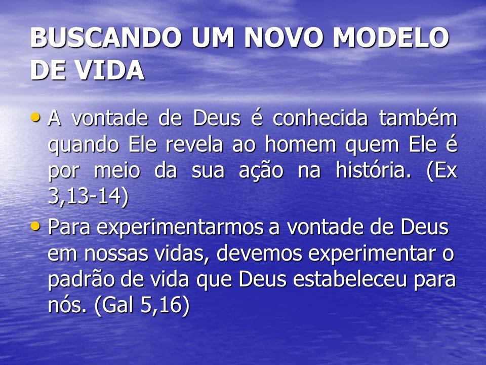 BUSCANDO UM NOVO MODELO DE VIDA A vontade de Deus é conhecida também quando Ele revela ao homem quem Ele é por meio da sua ação na história. (Ex 3,13-