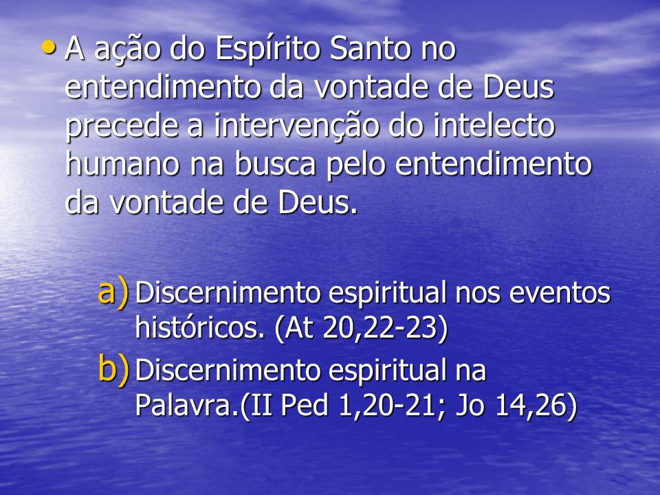 A ação do Espírito Santo no entendimento da vontade de Deus precede a intervenção do intelecto humano na busca pelo entendimento da vontade de Deus. A