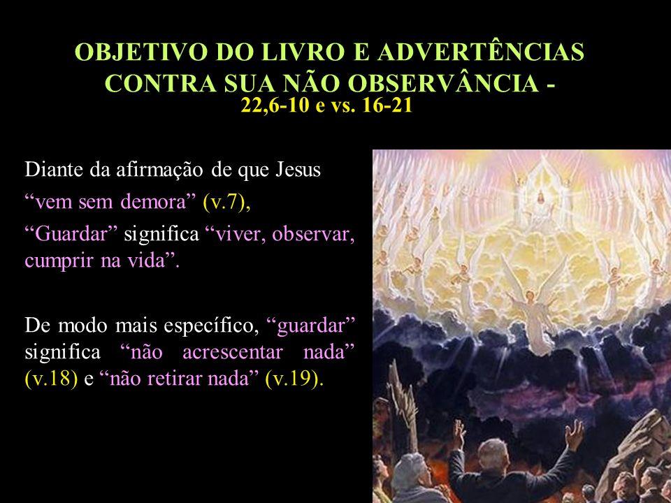 28 OBJETIVO DO LIVRO E ADVERTÊNCIAS CONTRA SUA NÃO OBSERVÂNCIA - Diante da afirmação de que Jesus vem sem demora (v.7), Guardar significa viver, obser