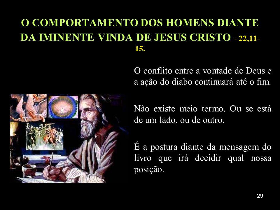 29 O COMPORTAMENTO DOS HOMENS DIANTE DA IMINENTE VINDA DE JESUS CRISTO - 22,11- 15. O conflito entre a vontade de Deus e a ação do diabo continuará at