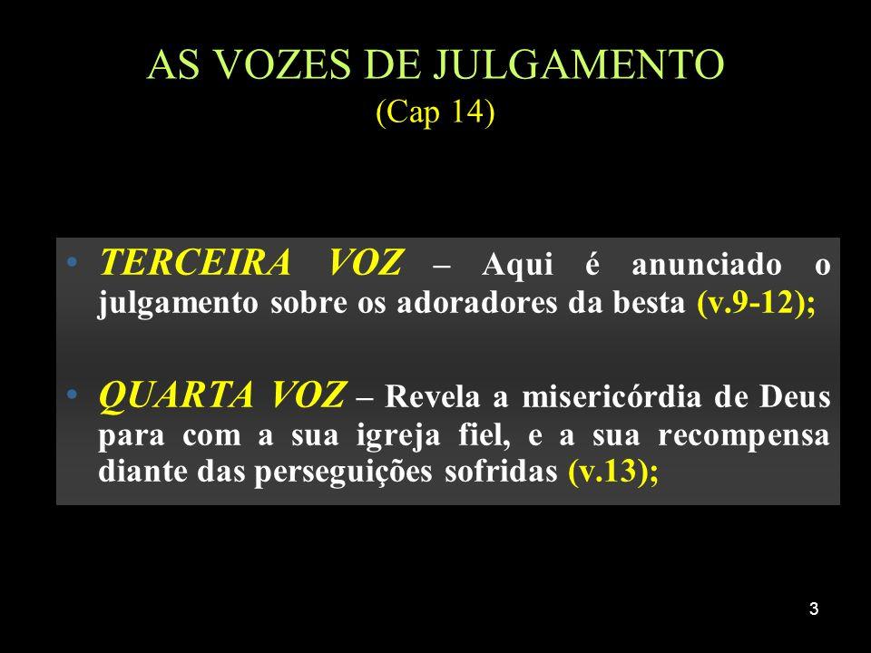 3 AS VOZES DE JULGAMENTO (Cap 14) TERCEIRA VOZ – Aqui é anunciado o julgamento sobre os adoradores da besta (v.9-12); QUARTA VOZ – Revela a misericórd