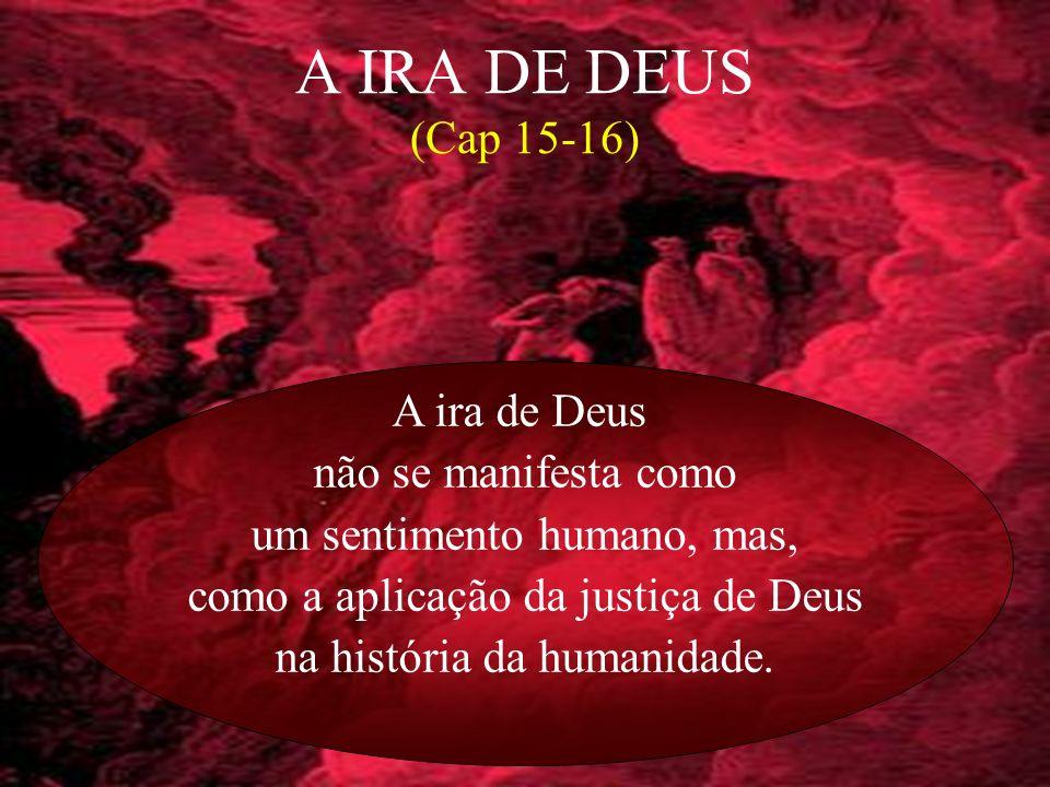 4 A IRA DE DEUS (Cap 15-16) A ira de Deus não se manifesta como um sentimento humano, mas, como a aplicação da justiça de Deus na história da humanida
